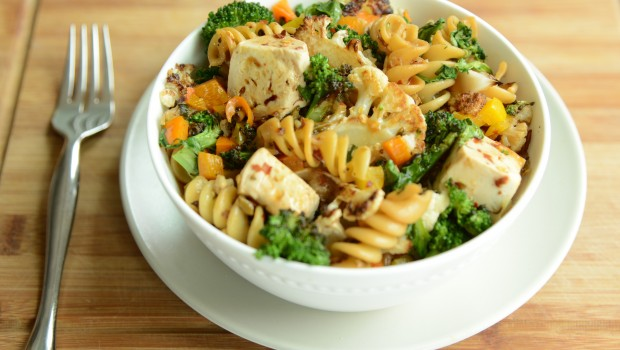 Vegetables, pasta and marinated tofu.
